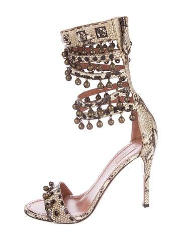 Snakeskin Bell-Embellished Sandals