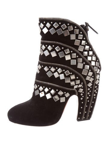 Alaïa Suede Stud-Embellished Booties