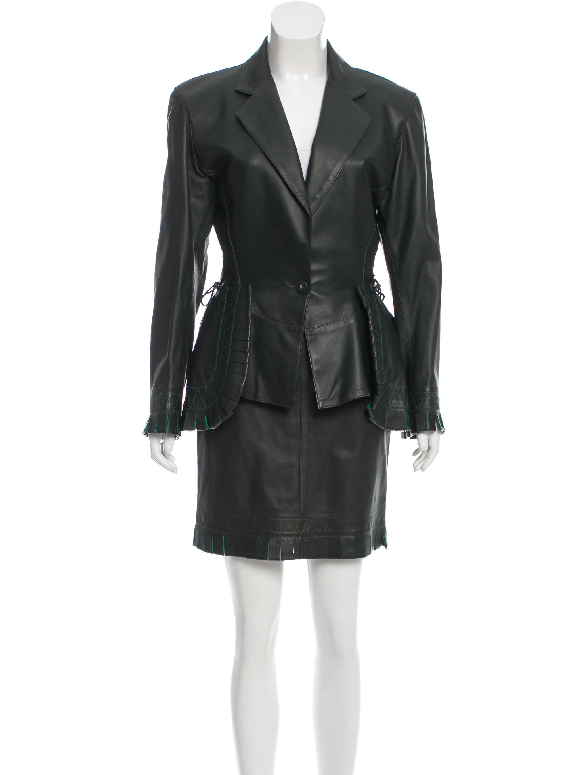 ala 239 a fringe trimmed leather skirt suit clothing