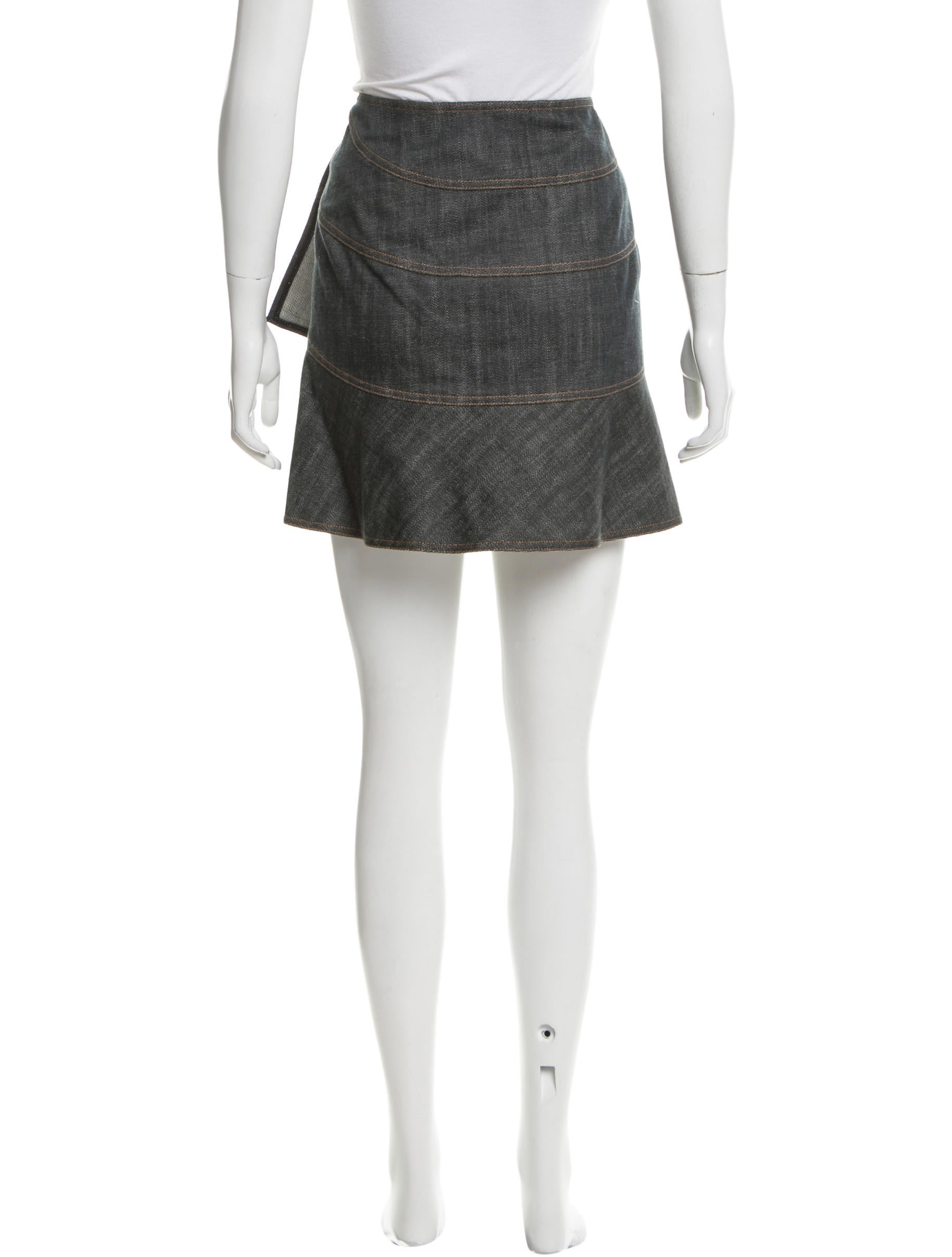 ala 239 a asymmetrical denim skirt clothing al229203 the