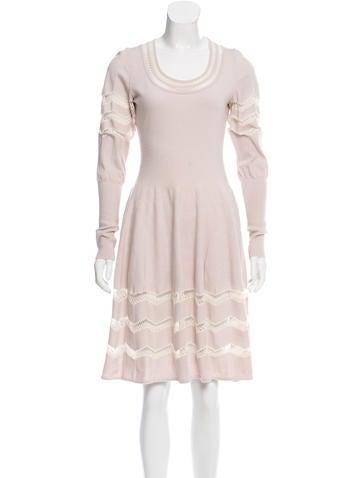 Alaïa Open Knit Fit & FLare Dress None