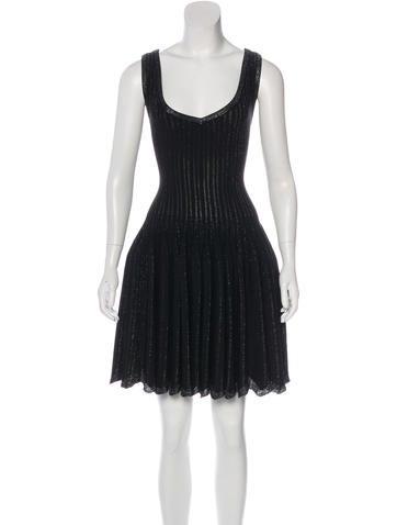 Alaïa Metallic Fit and Flare Dress None