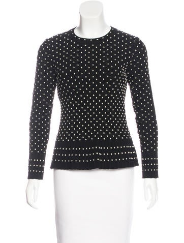 Alaïa Embroidered Wool-Blend Top w/ Tags None