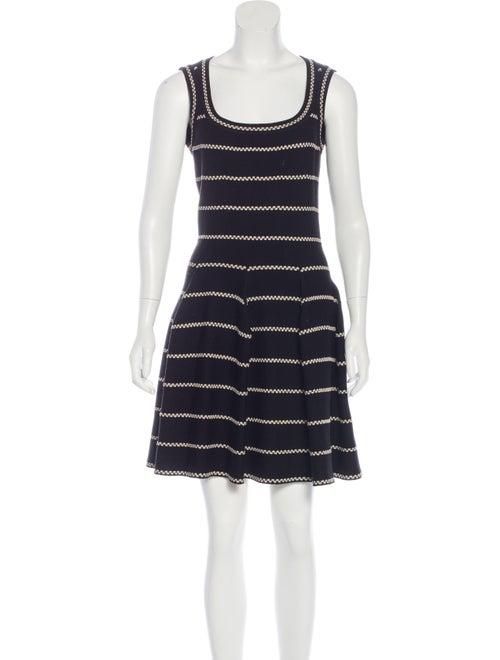 Alaïa Striped Fit and Flare Dress Black