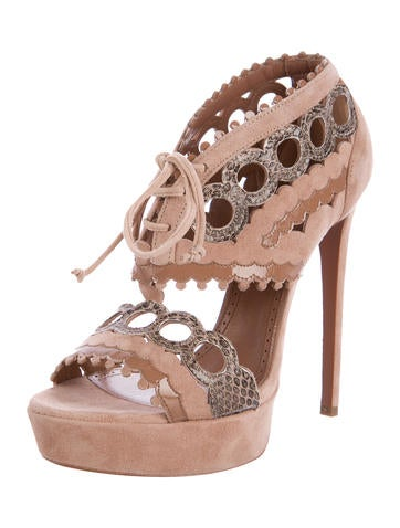 free shipping prices cheap for cheap Alaïa Snakeskin-Trimmed Laser Cut Sandals sale amazing price cheap amazing price Cheapest for sale d61sgn14y