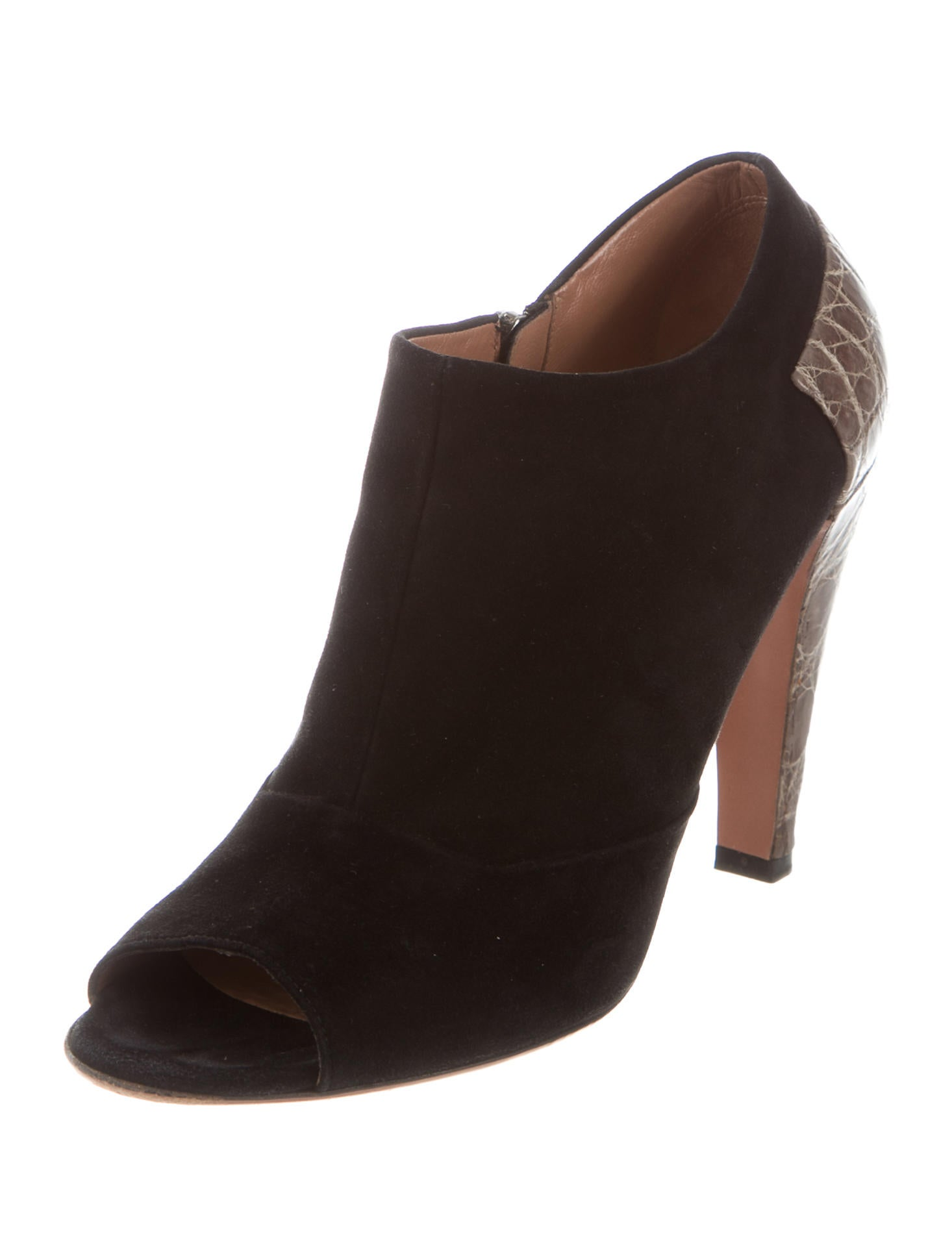 Alaïa Alligator-Accented Peep-Toe Booties free shipping Manchester discount sast cheap how much how much sale online with credit card for sale 9P2g5