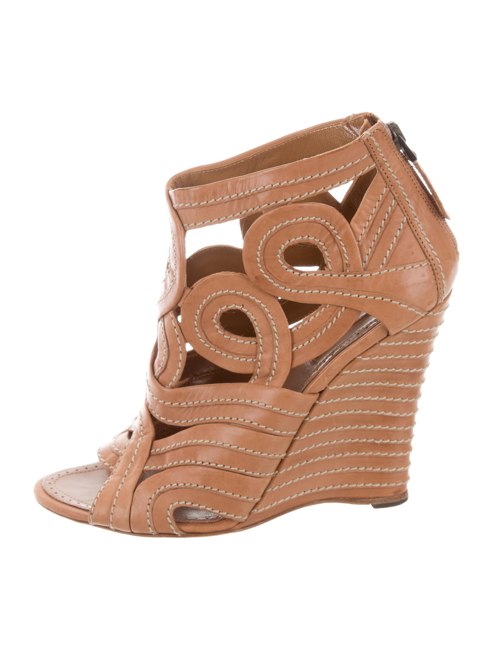 a80d1afcff3 Alaïa Leather Wedge Sandals - Shoes - AL234009
