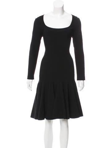 Alaïa Fit and Flare Knee-Length Dress None