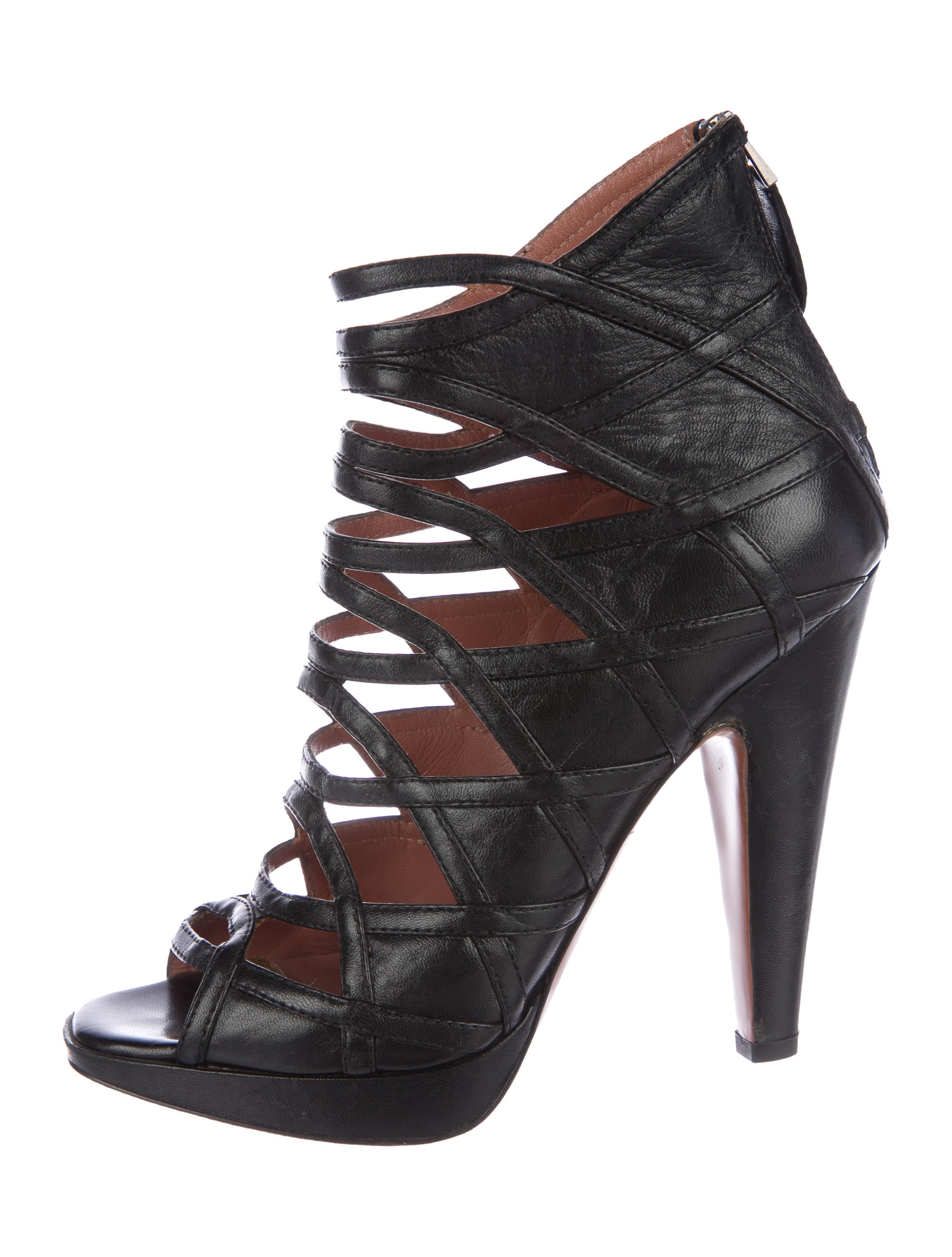 Alaïa Caged Leather Peep-Toe Booties cheap websites websites sale online fDpiEpJG