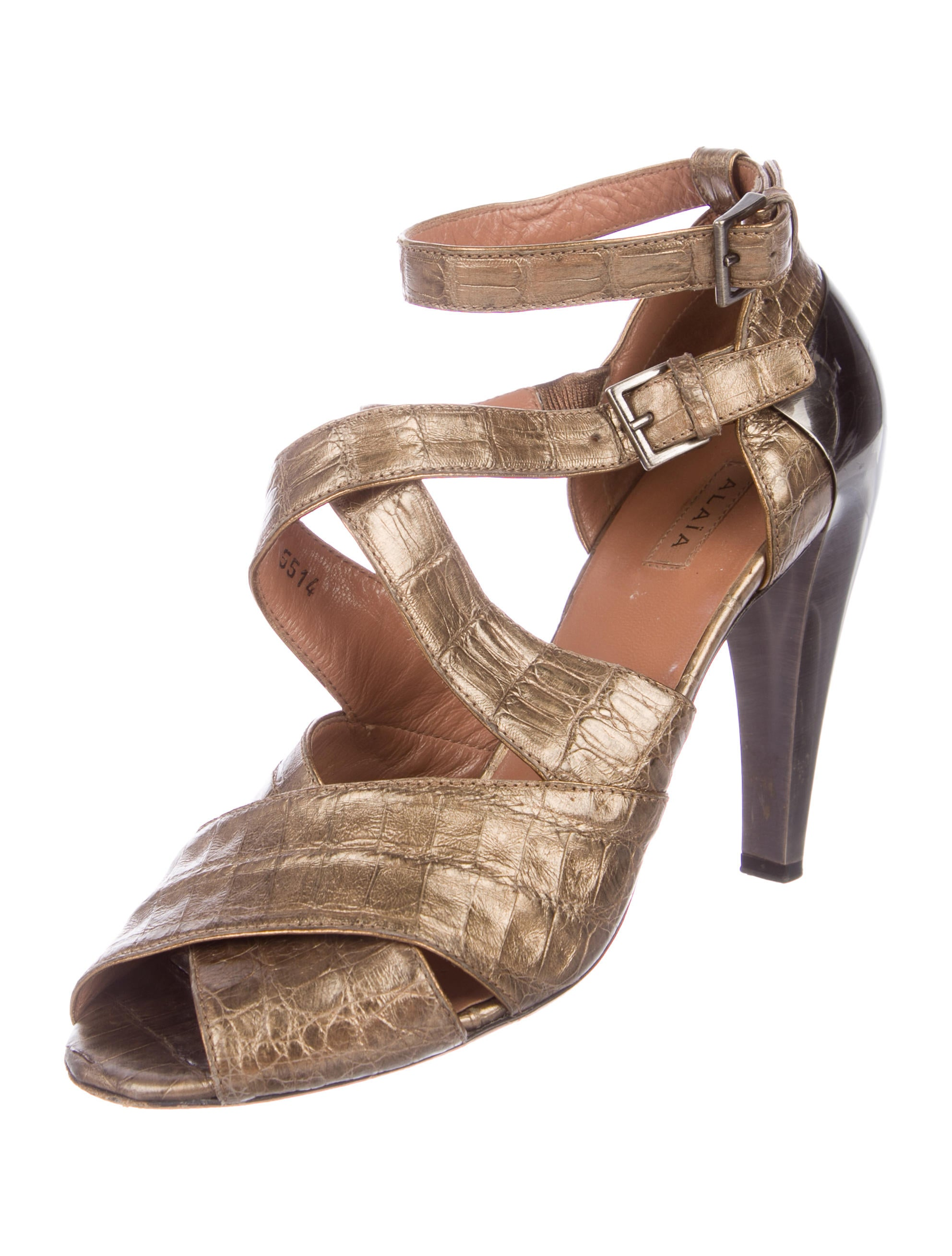 outlet get authentic Alaïa Embossed Crossover Sandals clearance original discount with mastercard cheap footlocker 1TvN7iccI