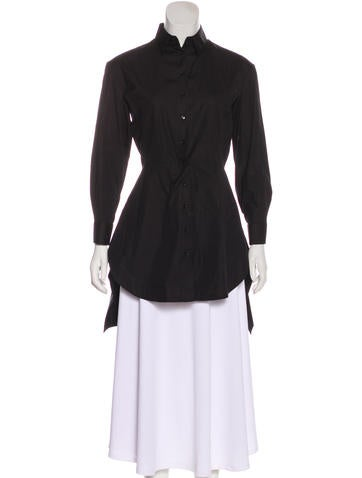 Alaïa Pleated Button-Up Top None