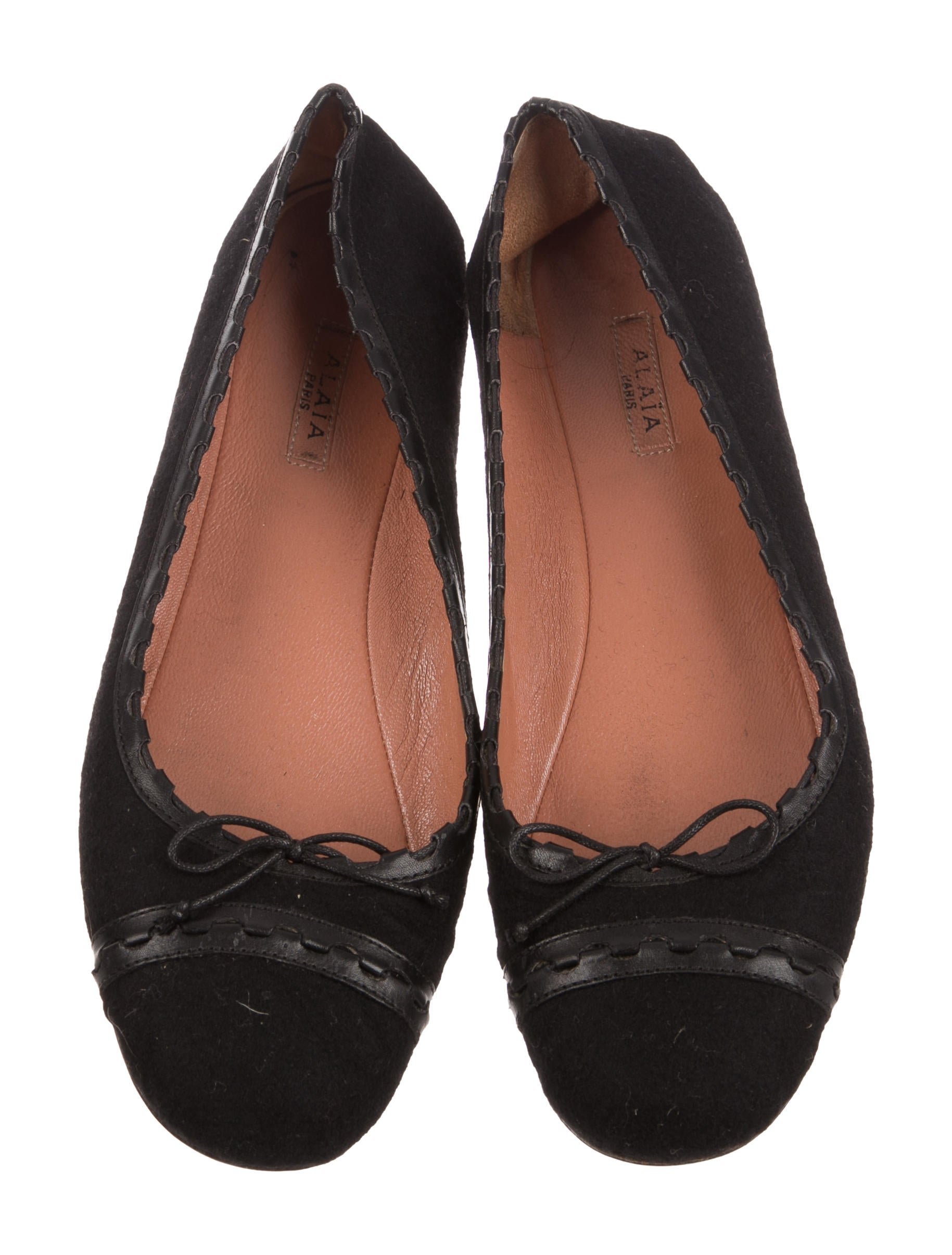 outlet very cheap supply online Alaïa Leather-Trimmed Round-Toe Flats low cost cheap price free shipping brand new unisex choice for sale 0ORh4RzZcu