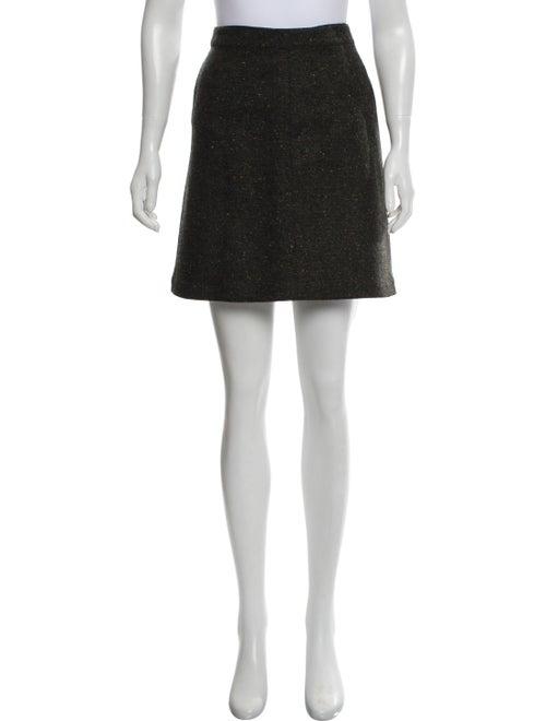 Alaïa Tweed A-Line Skirt Olive