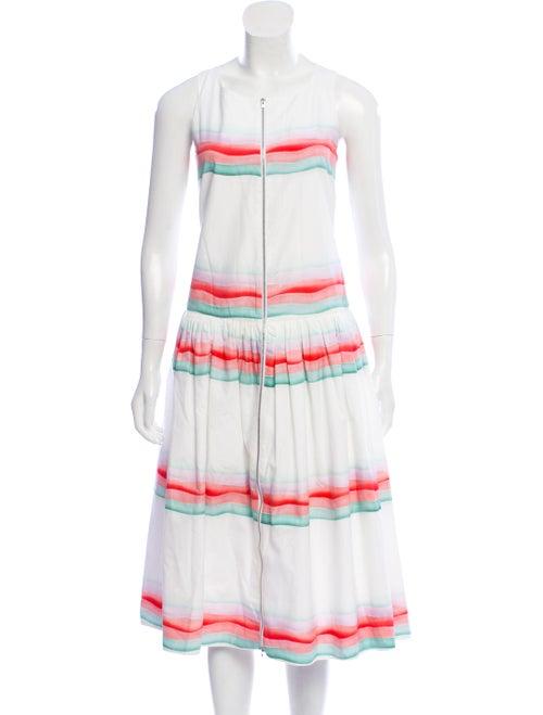 Alaïa Striped Sleeveless Dress White