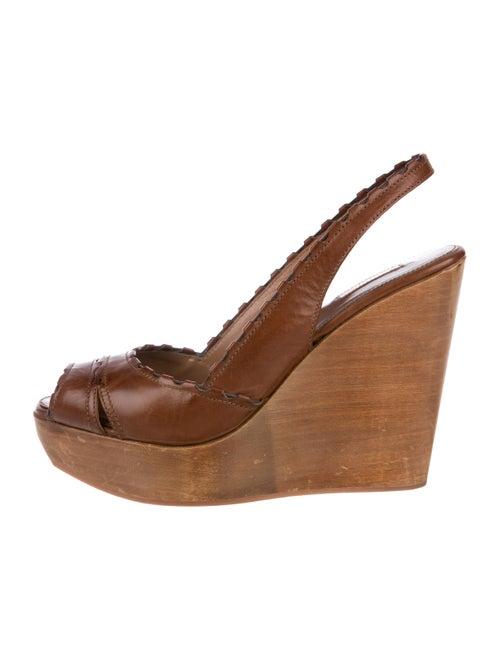 Alaïa Leather Peep-Toe Wedge Sandals Brown