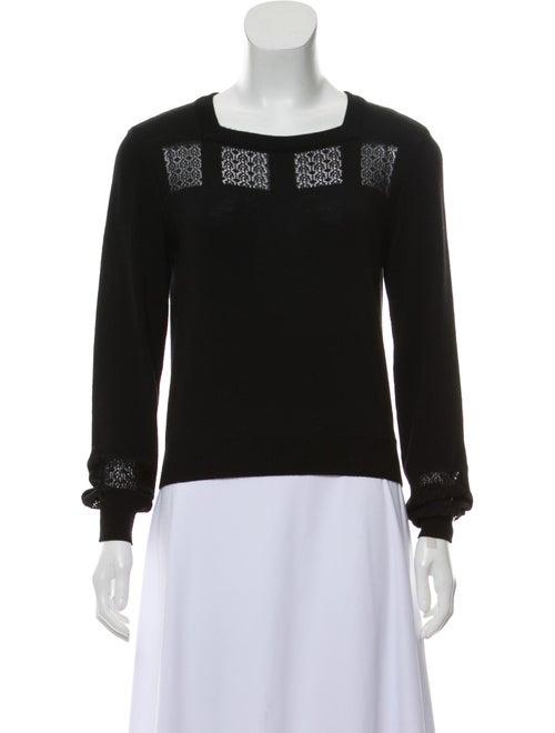 Alaïa Square Neck Lace-Accented Sweater Black