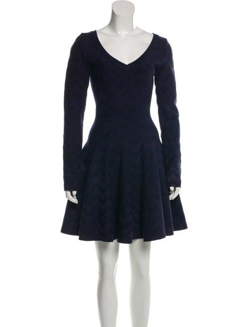 Alaïa Chevron Fit-and-Flare Dress blue
