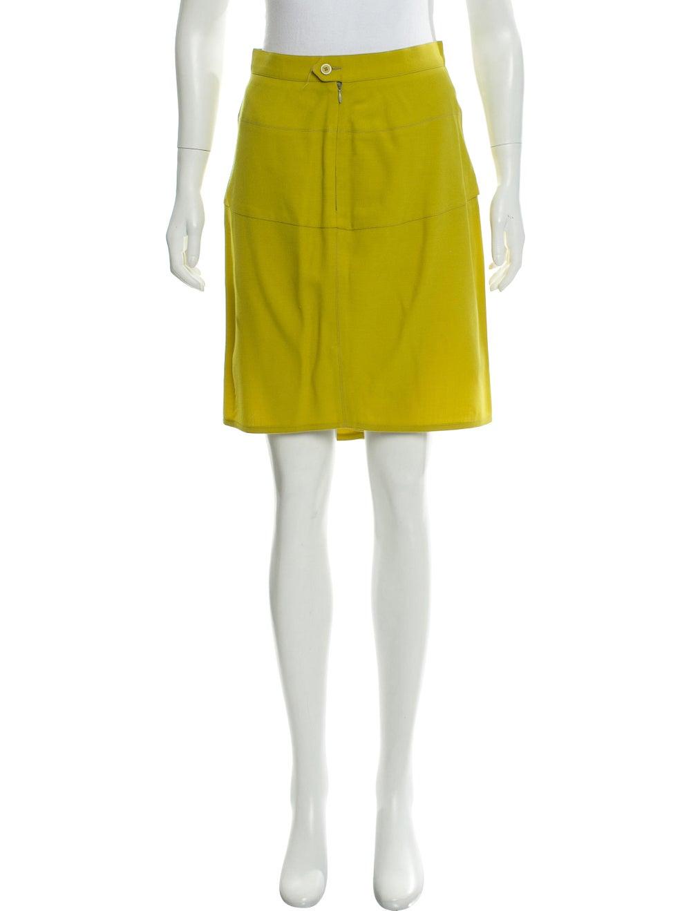 Alaïa Wool Knee-Length Skirt Chartreuse - image 1