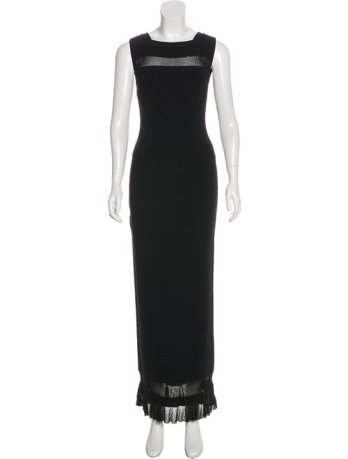 Alaïa Rib Knit Maxi Dress Black