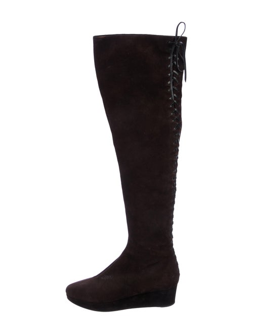 Alaïa Suede Over-The-Knee Boots Brown