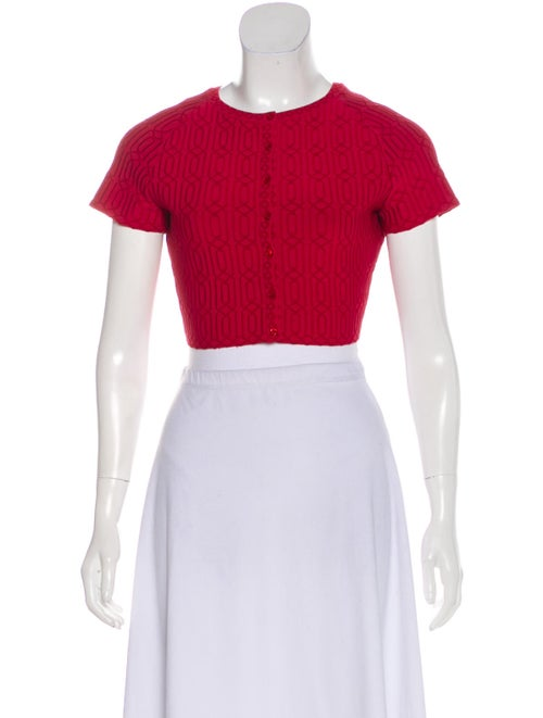 Alaïa Short Sleeve Cropped Cardigan Red