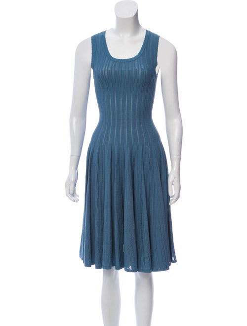 Alaïa Lace Fit And Flare Dress Blue