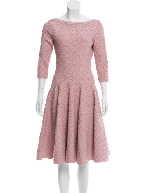 Alaïa Fit and Flare Midi Dress Pink