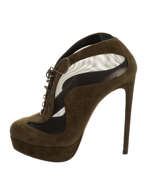 Alaïa Suede Ankle Boots Green
