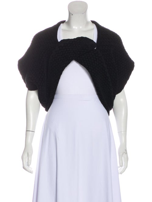 Alaïa Asymmetrical Short Sleeve Cardigan Black