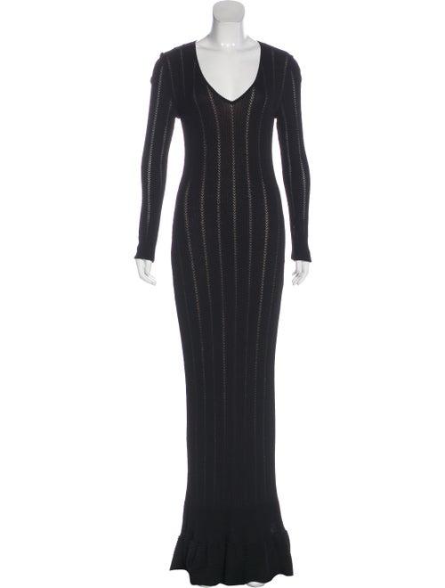 Alaïa Knit Long Sleeve Evening Dress w/ Tags Black