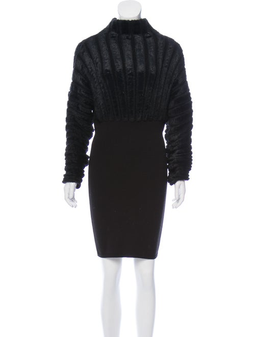 Alaïa Turtleneck Long Sleeve Dress Black