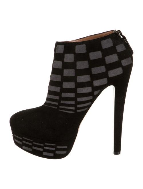 Alaïa Suede Platform Ankle Boots Black