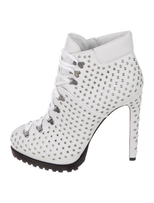 Alaïa Leather Round-Toes Boots White