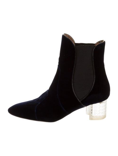 Alaïa Velvet Chelsea Boots Navy