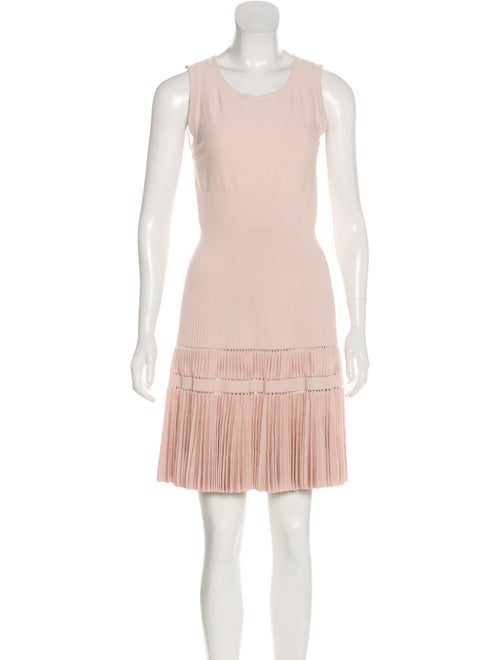 Alaïa Pleated Fit and Flare Dress Champagne