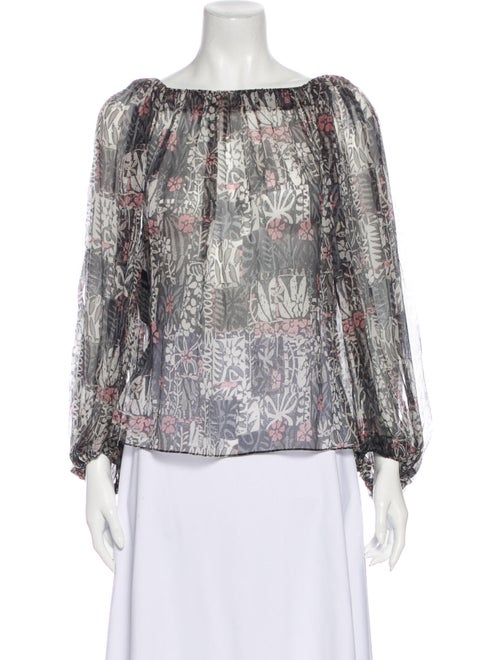 Alaïa Silk Printed Blouse w/ Tags Grey