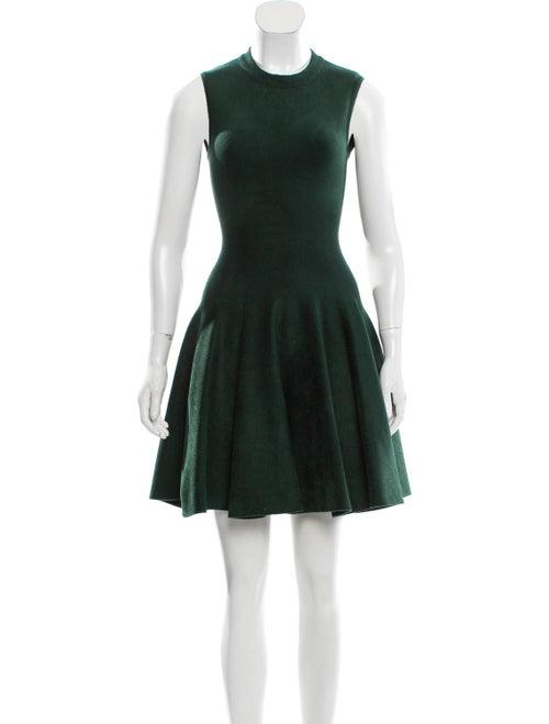 Alaïa Fit and Flare Velvet Dress green