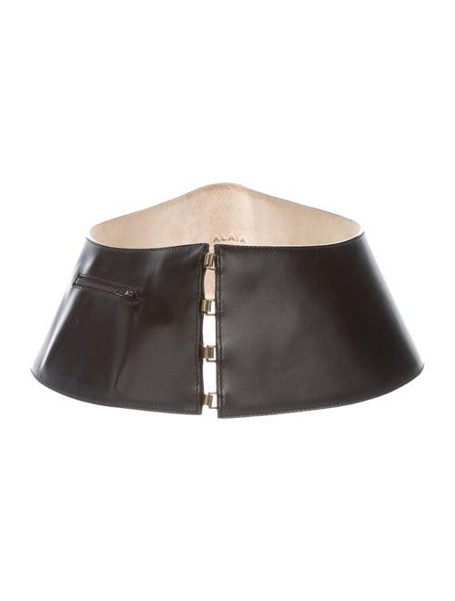 Alaïa Leather Wide Waist Belt Black