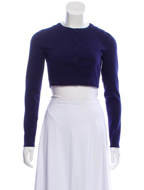 Alaïa Cropped Wool Cardigan Blue