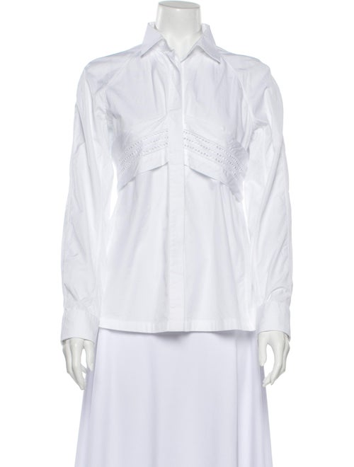 Alaïa Long Sleeve Button-Up Top White