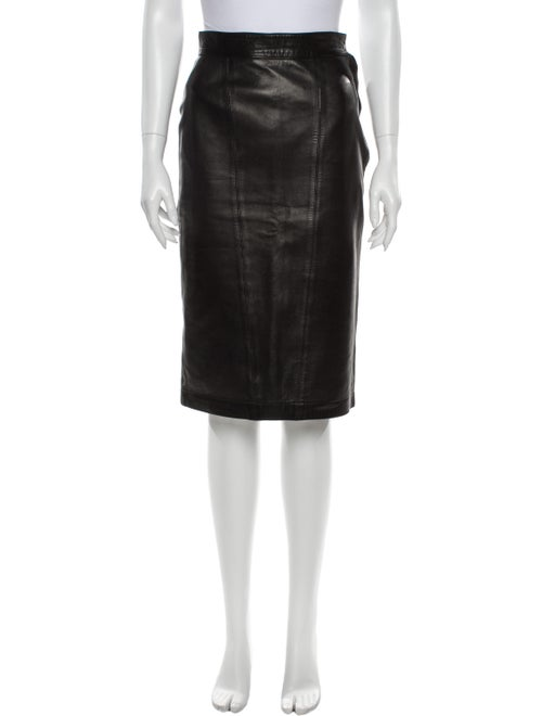 Alaïa Leather Knee-Length Skirt Black