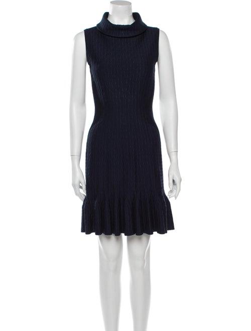 Alaïa Turtleneck Mini Dress Blue