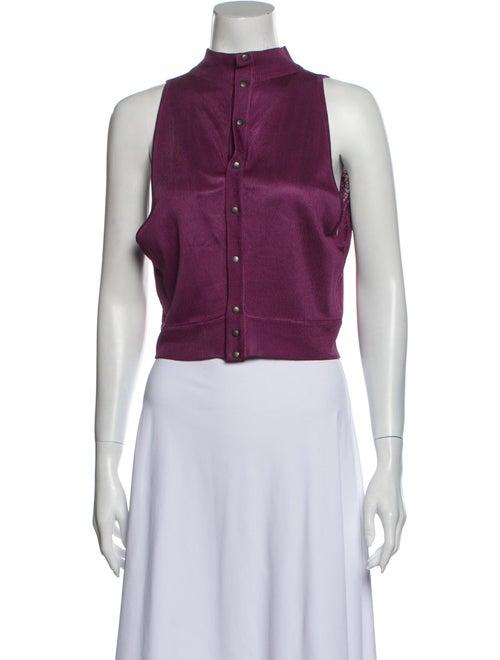 Alaïa Vintage Mock Neck Crop Top Purple