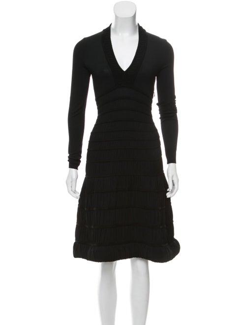 Alaïa Smocked Knee-Length Dress Black