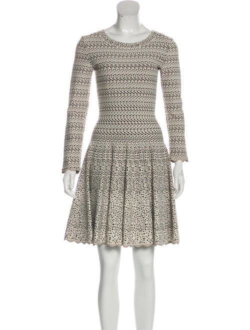 Alaïa Fit & Flared Long Sleeve Dress Beige