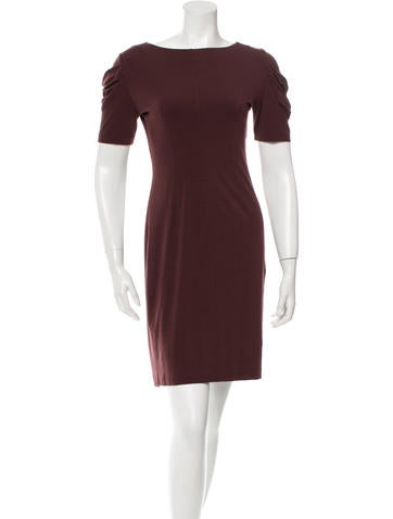 Alberta Ferretti Short Sleeve Sheath Dress