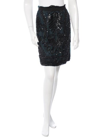 Alberta Ferretti Embellished Silk Skirt None