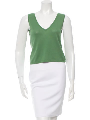 Alberta Ferretti Sleeveless V-Neck Top None