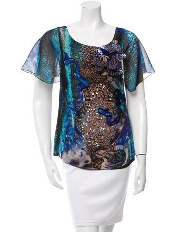 Alberta Ferretti Printed Embellished Top None