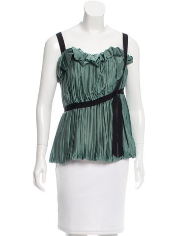 Alberta Ferretti Pleated Sleeveless Top None